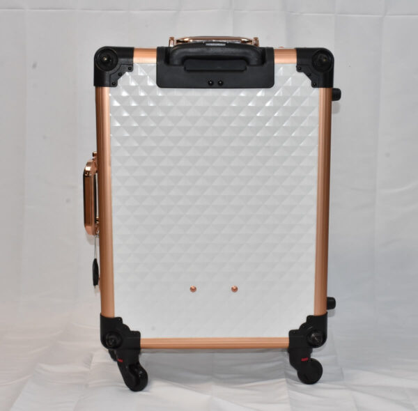 White Diamond LED Vanity Travel Case back