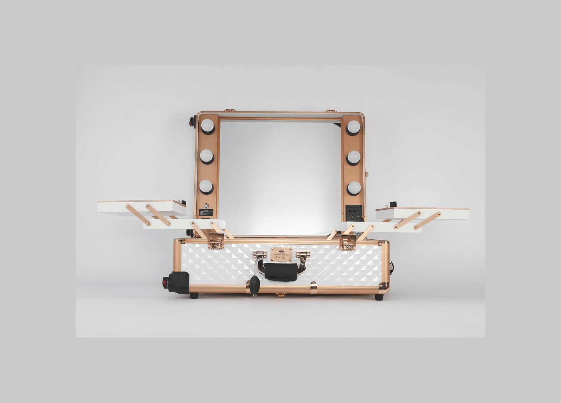 small white travel LED makeup case